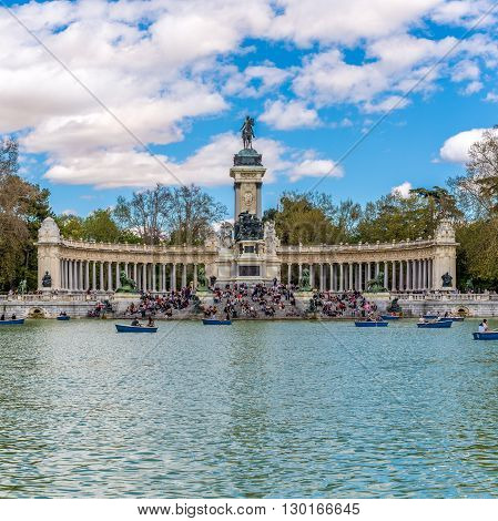 MADRID,SPAIN - APRIL 24,2016 - View at the Monument to Alfonso XII of Spain in Madrid.The Monument to King Alfonso XII is located in Buen Retiro Park (El Retiro)in Madrid.