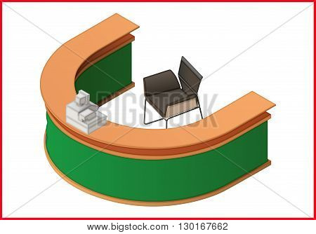 Reception flat isometric perspective view vector. Hotel furniture 3d illustration