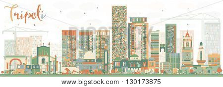 Abstract Tripoli Skyline with Color Buildings. Business Travel and Tourism Concept with Historic Buildings. Image for Presentation Banner Placard and Web.