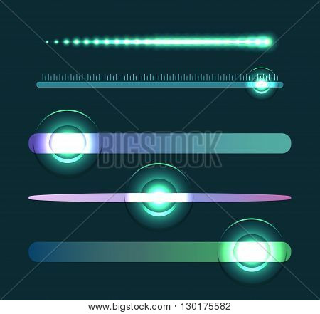 Set of glowing sliders. Set of sliders with loading. Vector element for web sites banners and your design