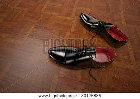 3D rendering of formal shoes model in black of Wood parquet background