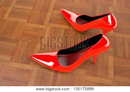 3D rendering of formal shoes model in red of Wood parquet background