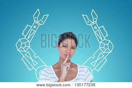 Portrait of beautiful woman making silence gesture against blue vignette background