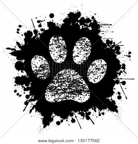 Illustration paw print on black ink as background.