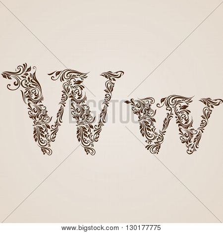 Handsomely decorated letter w in upper and lower case.