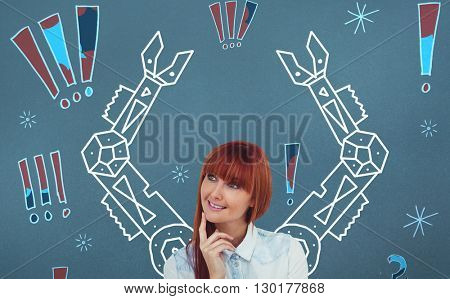Portrait of a smiling hipster woman against digital drawing of mechanics