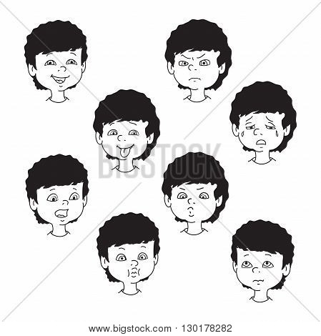 Child face emotion gestures black and white vector illustration set collection. Boy curly smiling laughing angry crying showing tongue whistles thoughtful