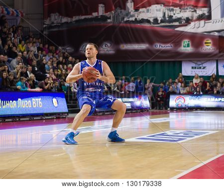 Bc Neptunas Guard Arvydas Eitutavicius (13) With Ball