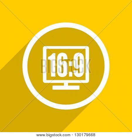 yellow flat design 16 9 display web modern icon for mobile app and internet