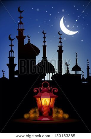 Ramadan Kareem greeting background with ligh lantern.  Illustration  of muslim holy month with mosque building. Vector Illustration.