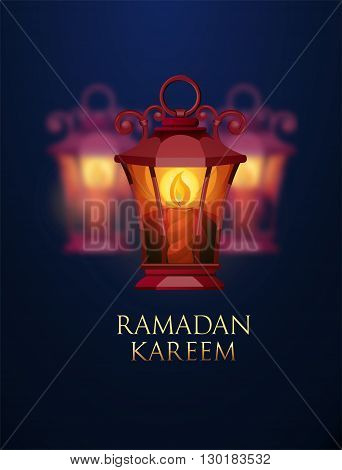 Ramadan Kareem greeting background with ligh lantern. Vector Illustration.