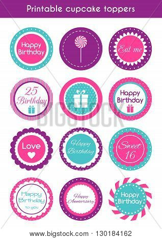 Printable cupcake toppers. Vector set of round bright cupcake toppers, labels for birthday party