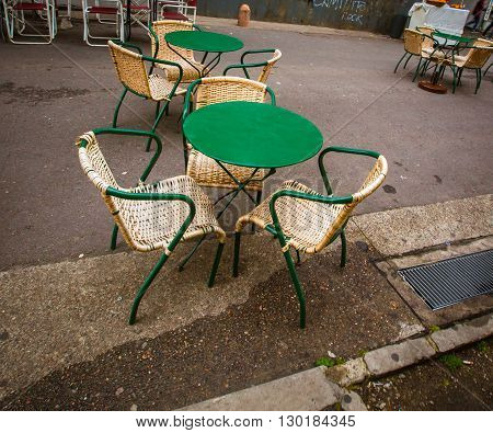 Empty chairs and table in La Boca Argentina