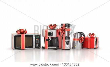 Kitchen appliances. Blender toaster coffee machine kettle and microwave in gift ribbon. 3d illustration