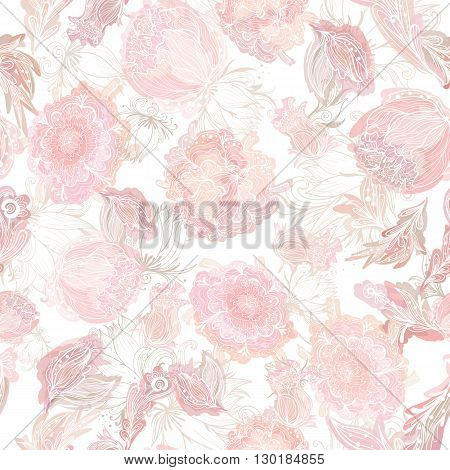 Creative seamless texture with lace flowers in pink shades for tender wedding design