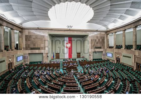 WARSAW POLAND - MARCH 4 2015. Members of Parliament during session of the lower house of the Polish parliament called Sejm