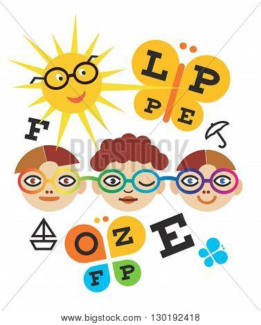 Three children testing eyesight using eye chart.Vector available.