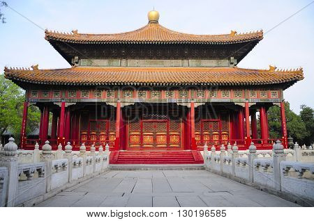 One of the many Chinese designed buildings on the Confucius Temple property in Beijing China.