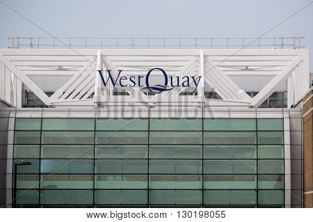 Southampton UK - 14th May 2016. The West Quay Shopping Centre located in the city centre of Southampton. Containing around 150 shops including M&S & john Lewis.