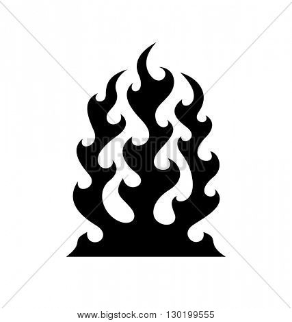 Black fire flame symbol isolated on white