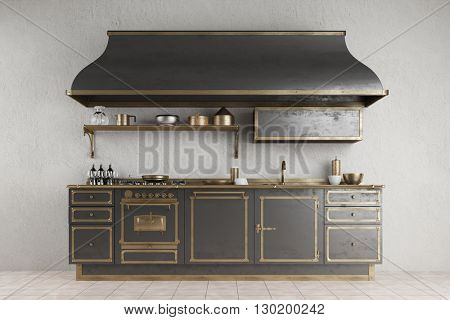 Old vintage kitchenette with metall and accessoires in a kitchen (3D Rendering)