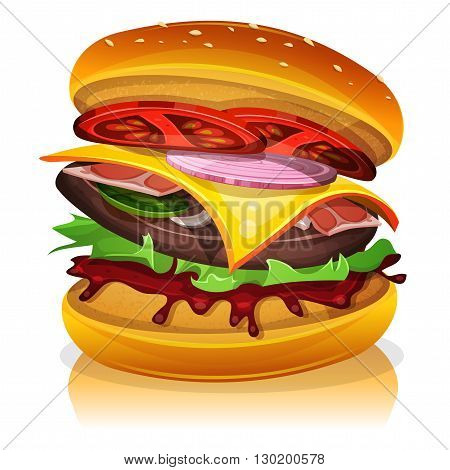 Illustration of a design big bacon burger icon with beef steak salad tomatoes and onions for fast food snack and takeaway menu