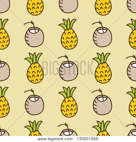 Seamless summer background. Hand drawn pattern. Suitable for fabric, greeting card, advertisement, wrapping. Bright and colorful pineapple and cocktail backdrop