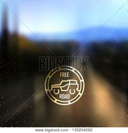 blurred road background and stylized vechicle sign