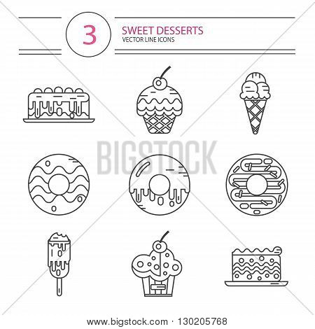 Vector modern line style icons set of sweets and candies products. Dessert icons set. Donut with glaze, cake, ice cream, muffin with cherry. Different types of donuts, ice creams and muffins.