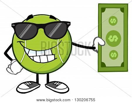 Smiling Tennis Ball Cartoon Mascot Character With Sunglasses Holding A Dollar Bill