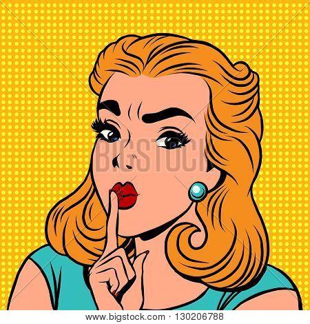 Emoji retro Shhh silence girl emoticons. Pop art vector illustration. Emoji woman. Emotions girl face. Retro Emoji girl