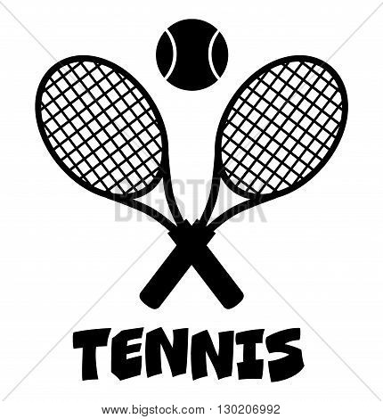 Crossed Racket And Tennis Ball Black Silhouette. Illustration Isolated On White With Text Tennis