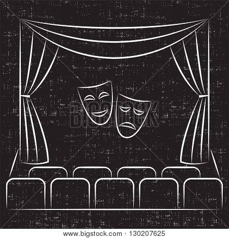 Theater stage with curtain, seats, comedy and tragedy theater masks, sketch style illustration. Theater stage vector line icon. Theater stage logo template.