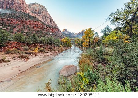 sunrise at the watchman zion national park utah in fall