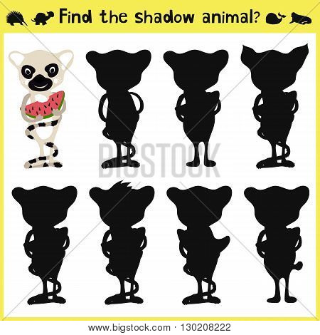 Children's developing game to find an appropriate shadow animal lemur. Vector illustration