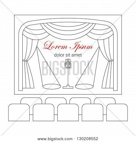 Theater stage with curtain, spotlights, microphone and seats vector line illustration. Theater or cinema logo template. Entertainment icon.