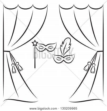 Theater curtain and masks vector line illustration. Stage curtain sketch. Background with open theater curtains. Theater icon.