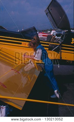 ANTALYA/TURKEY-SEPTEMBER 17, 1997: Female pilot Svetlana Kapanina during the training session of 1st World Air Games Turkey at Karain Airport. September 17, 1997-Antalya/Turkey