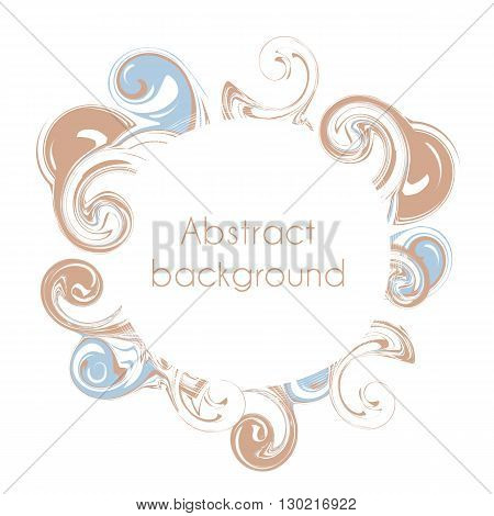 Abstract round frame. Color creative abstract waves and surges in the form of a circle. Vector illustration. Blue and brown color.