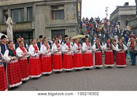 CROATIA ZAGREB 4 OCTOBER 2014: Choir of the folklore ensemble is singing and playing traditional Croatian songs in the centre of Zagreb Croatia
