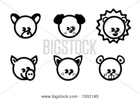 Animals Black And White Icons