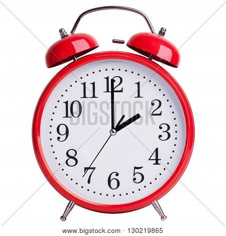 Red round alarm clock shows exactly two