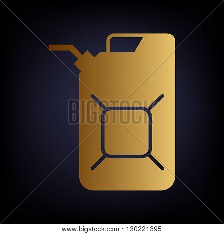 Jerrycan oil sign. Jerry can oil sign. Golden style icon on dark blue background.