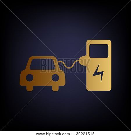Electric car battery charging sign. Golden style icon on dark blue background.