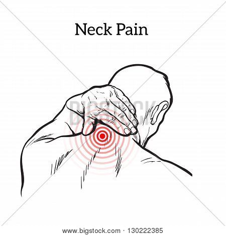 Pain in the neck of a man, sketch illustration isolated, man holding his hand sore neck, spine disease or muscle overexertion, human neck injury, black and white illustration