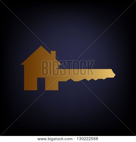 Home Key sign. Golden style icon on dark blue background.