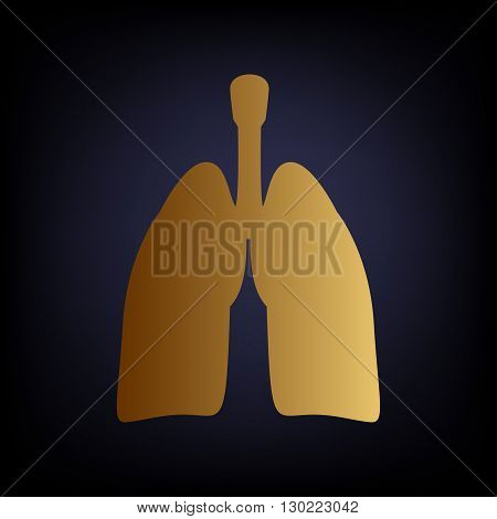 Human organs. Lungs sign. Golden style icon on dark blue background.