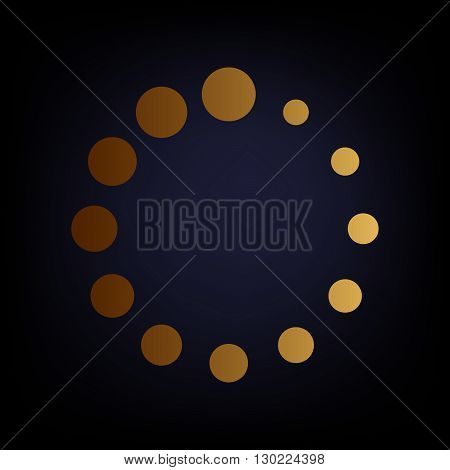Circular loading sign. Golden style icon on dark blue background.