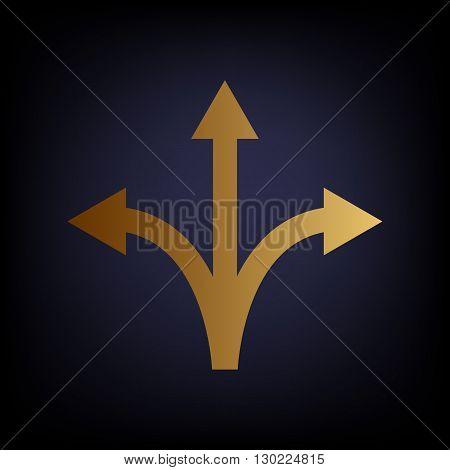 Three-way direction arrow sign. Golden style icon on dark blue background.
