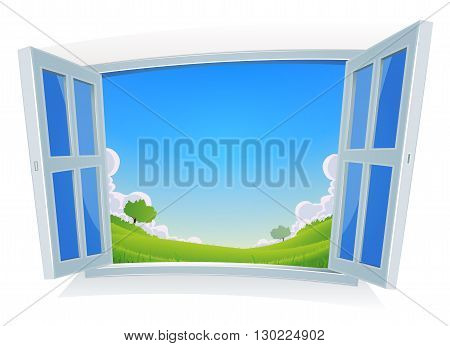 Illustration of a spring or summer season landscape seen from home by opended windows with blue sky background